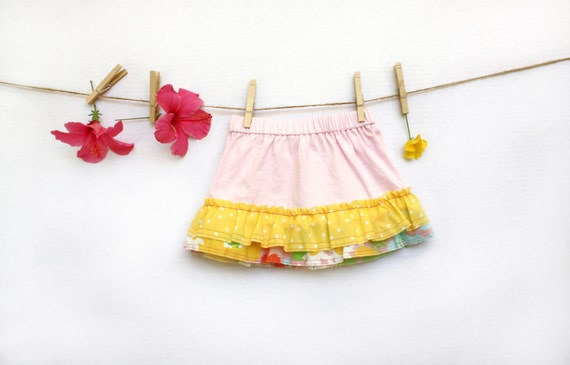 Reserved for Kari-Girls Summer Skirt, Size 2, Light Pink with A Double Ruffle in Yellow, Kids, Clothing, Children, Clothes, Play Clothes