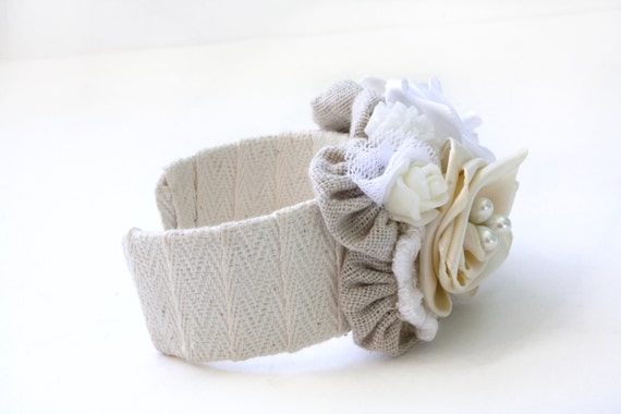 Cuff Bracelet with Vintage Roses- Cream