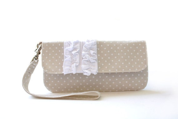 Wristlet Clutch, Beige Polka Dots, White Ruffles, Purse, Bag-READY TO SHIP