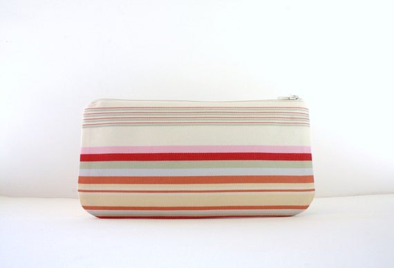 Zipper Pouch, Stripes, Cosmetic Bag, Coupon Holder, Travel Bag, Back To School
