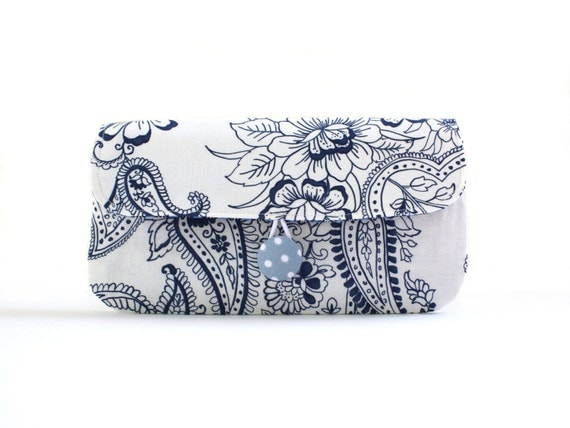 Wristlet Clutch, Blue and White Paisley