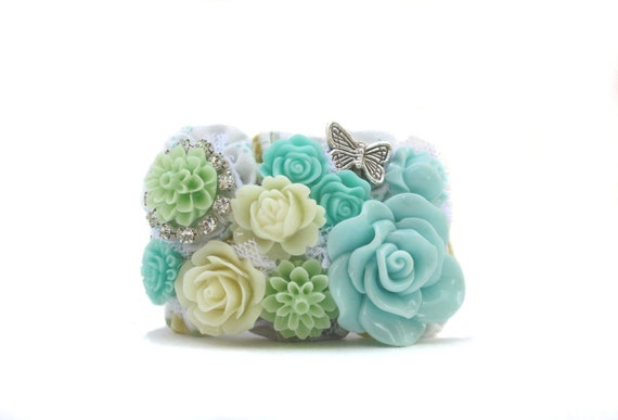 Cuff Bracelet, Butterfly,  Aqua Blues, Mint and Pale Yellow, Unique, One of a Kind, Jewelry