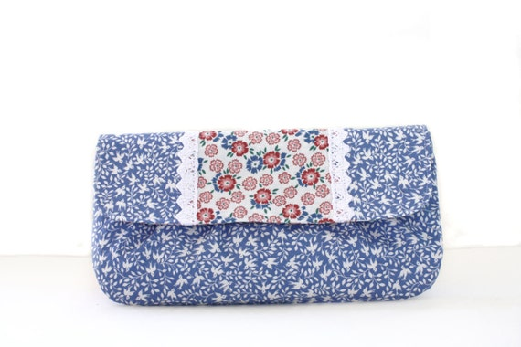 Clutch,  Blue Bird Clutch, Floral Trim, Lightly Ruched, Purse, Handbag in Blue and White Cotton-READY TO SHIP