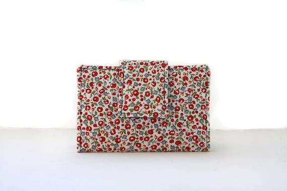 Business, Credit, Gift Card Holder-Floral Print Cotton Blue, Red