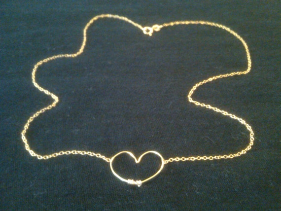 14k Gold-Plated, Rose-Gold, or Sterling Silver Dainty Heart Necklace