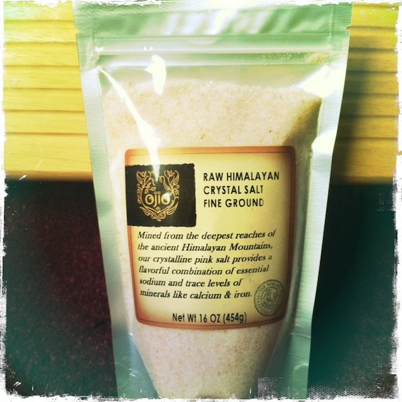 RAW pink Himalayan Crystal Salt - fine ground -16 oz.. bag