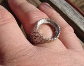 Sterling Silver 16mm Round Nugget Ring band tapers to 5mm