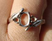 Sterling Silver Ring Oval 8 x 6mm Cabochon with a 2mm stone on sides, Shank  curves up left side and down right side