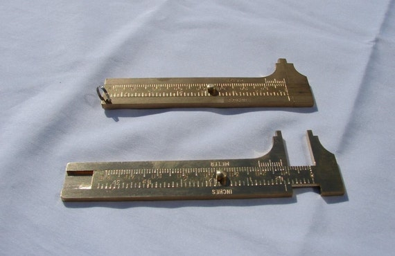 Brass Caliper used to measure gemstones, beads, cabochons and small items in mms & inches.