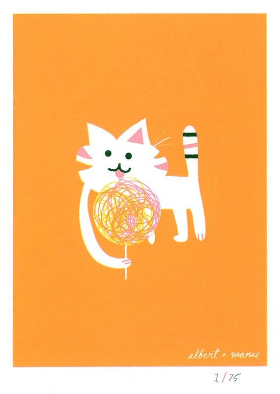 Cat & Candy - 5x7 Screen Print