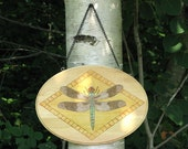 Dragonfly wall hanging - wood pyrography - dragonfly decoration