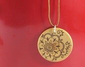 Wood flower Pendant I - wood pyrography - wooden jewelry
