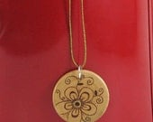 Wood flower Pendant - wood pyrography - wooden jewelry