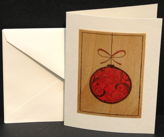 Christmas cards - pyrography - Christmas ornament cards set of 4