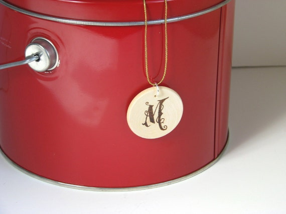 Custom Order Wood Pendant - wood pyrography - personalized initial jewelry