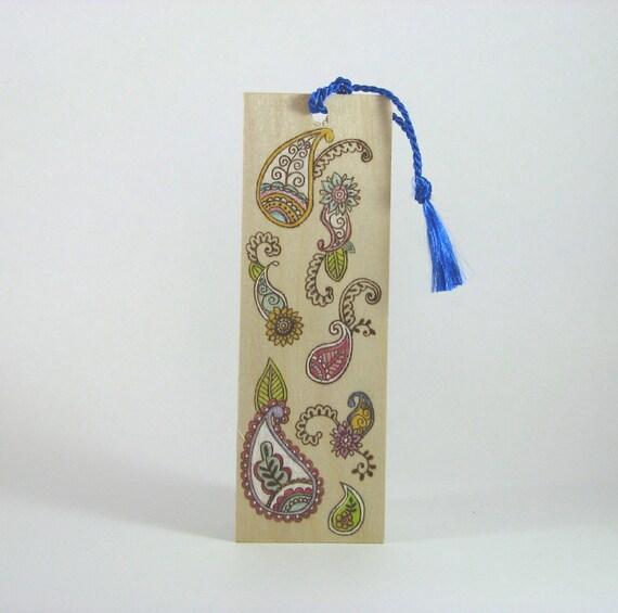 Wooden bookmark - Hand Pyrography - Henna Mendi Paisley