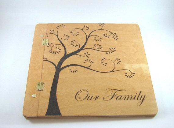 12x12 Scrapbook Photo Album - Creative Wood Pyrography - Wood burned Family Album