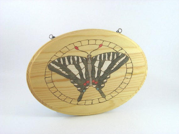 SALE 40% off Butterfly Wall Art - Wood Pyrography - Zebra Swallowtail butterfly wall hanging