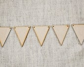 Large DIY Wooden Pennant Banners - Set of 15