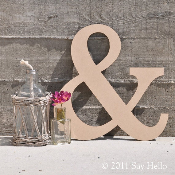 ampersand mdf wood sign