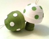 Toadstool Ornament Sage Green and White