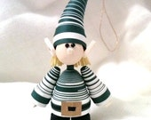 Elf Decoration, Elf Ornament, Christmas Decor Paper Quilled Forest Green and White STripes