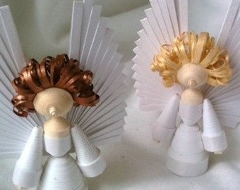 Angel Christmas Decoration Set of Two Paper Quilled in Bright White