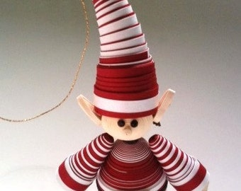 Christmas Ornament Elf Candy Cane Stripe in Crimson Red and White Single
