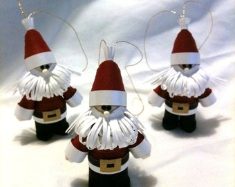 Santa Christmas Ornament Set of Three Paper Quilled Art in Crimson Red Straight Beards