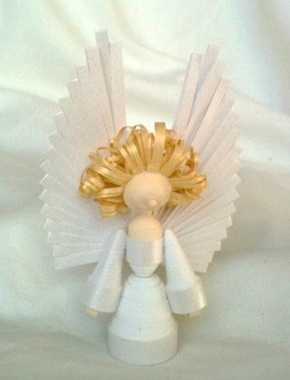 Christmas Angel Ornament Paper Quilled in Bright Christmas White with Gold Hair