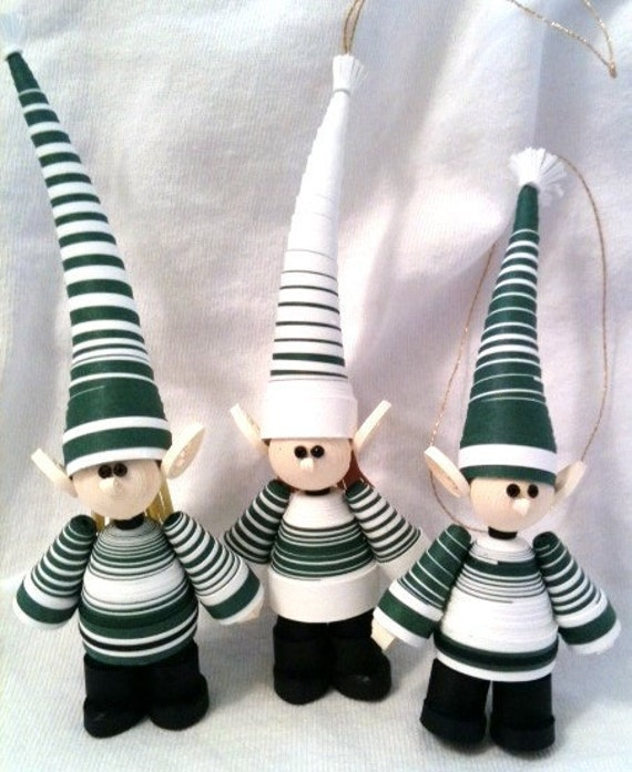 Elf Christmas Ornament Set in Forest Green and White Stripes Set of Three