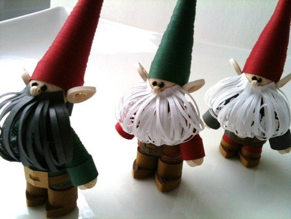 Scandinavian Christmas Ornament Set, Christmas Decoration Danish Nisse, Swedish Scandinavian Tomte, Paper Quilled Trio