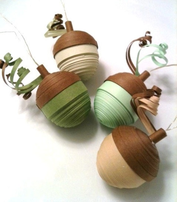 Thanksgiving Decoration Acorn Ornaments Shades Green and Beige