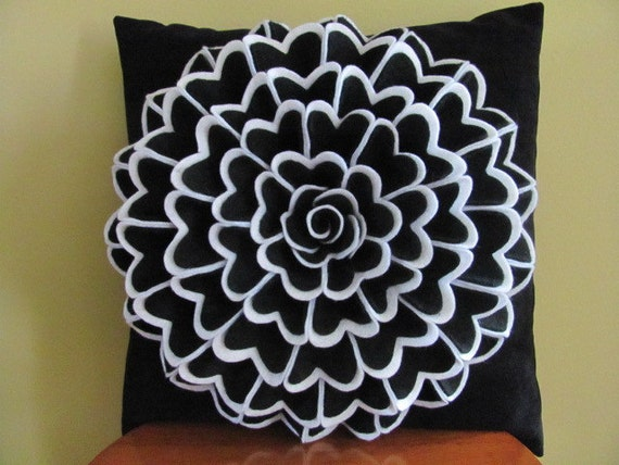 Decorative Pillow Felt Flower Pillow Pattern ISABELLA FLOWER Felt Flower Pattern with 2 Bonus Pillow Cover Patterns Tutorial PDF ePattern