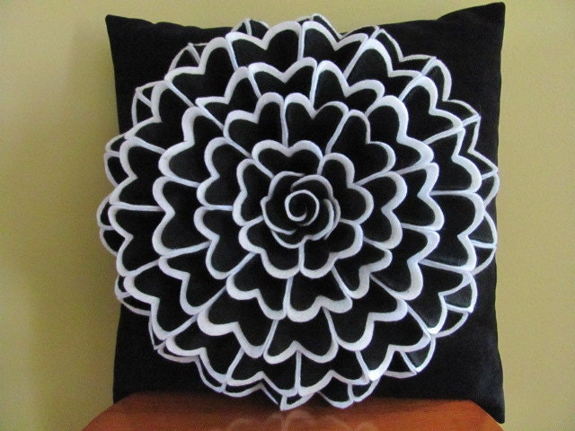Fancy Throw Pillow Patterns : Decorative Pillow Felt Flower Pillow Pattern by SewYouCanToo