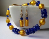 Blue gold glass bracelet and earrings set -  romantic jewelry - romance - evening jewelry - delicate bracelet
