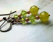 Yellow and green dangle earrings - copper wires and findings - olive jewelry - mustard jewelry
