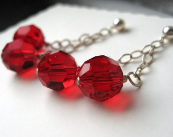 Bright red earrings from Swarovski crystals and sterling silver | romantic jewelry