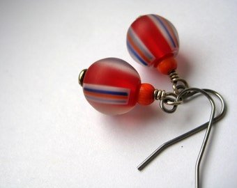 Red and bright orange earrings | red beads with blue, white and orange stripes