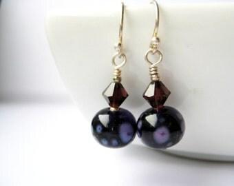 Purple earrings - lampwork glass and Swarovski crystals - purple jewelry