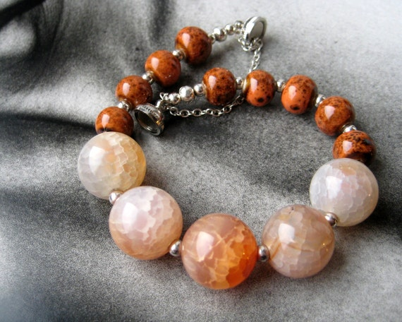 Orange bracelet - crab fire agate and ceramic beads - earthy jewelry