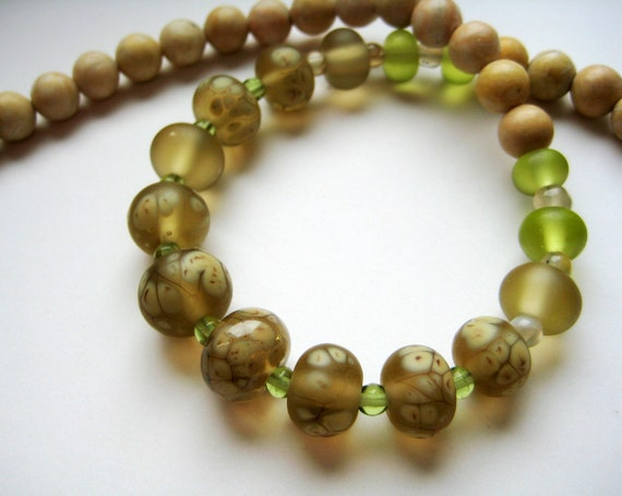 Beige necklace, light green, lampwork beads, stone necklace, delicate necklace, statement, OOAK