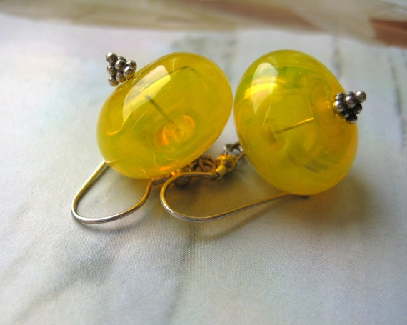 Yellow hollow glass earrings with silver, artisan lampwork beads