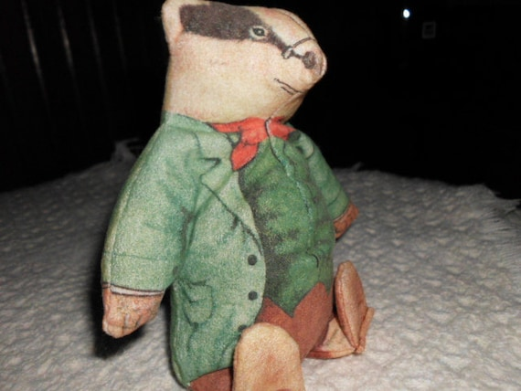Vintage Mr. Badger Wind in the Willows character stuffed toy
