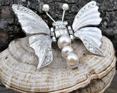 RESERVED for Alissa  SALE - Butterfly Sweater Pin / Brooch - Pearl and Rhinestone in Silvertone - Unique Clasp