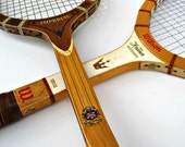 Vintage Wood Tennis Racquet Pair - Includes desireable Imperial by Davis