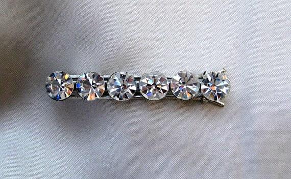 Vintage Rhinestone Barrette / Hair clip - Large Round Stones equals Big Sparkle.