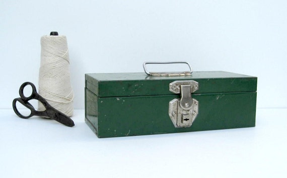 SALE - Vintage Industrial Tool Box in Green - Small Storage