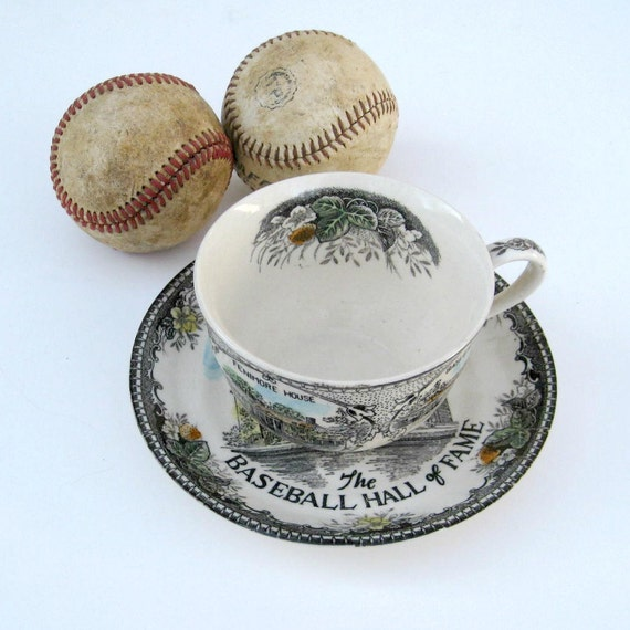 SALE - Cooperstown New York Baseball Hall of Fame Souvenir Tea Cup and Saucer
