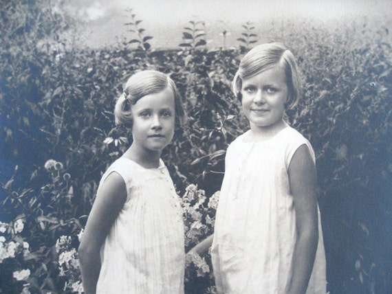 Vintage Photograph of Two Sisters in the Garden - Large Photo -10 x 13  Black and White Photography 1920s